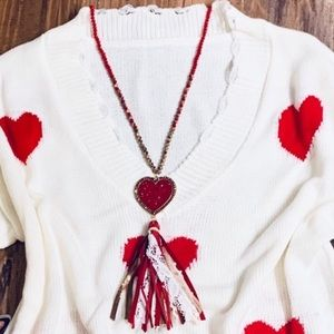 New! ❤️ Heart long tassel necklace bling beading